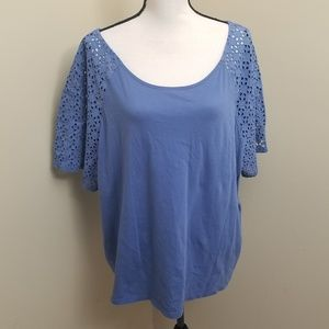 Old Navy Blue Keyhole Back XXL Lacey Shoulder Top